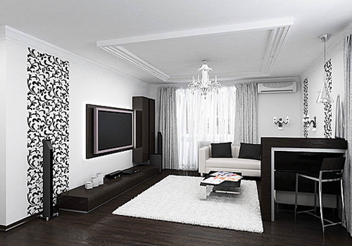 Интерьер квартиры в чёрно белом цвете