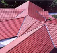 The roof of a natural ceramic tiles